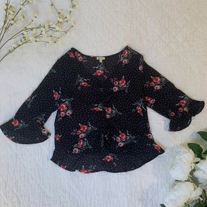 Polka dot rose rouched front blouse